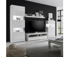 Wohnwand Liminka III (4-teilig) - Hochglanz Weiß / Weiß