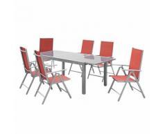 Essgruppe Amalfi X (7-teilig) - Aluminuim Silber/Kunstfasergewebe Terracotta