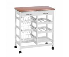 Küchenwagen Arik II - Weiß/Bambus Dekor