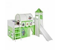 Spielbett IDA 4106 Pirat Grün - Teilbares Systemhochbett LILOKIDS - mit Turm und Rutsche inkl. Vorhang - weiß