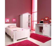 Jugendzimmerset Biotiful (4-teilig) - Kleiderschrank, Bett, Nachtkommode & Schreibtisch - Dekor weiß & rosa