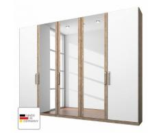 Kleiderschrank Lea - Eiche Sanremo hell Dekor/Alpinweiß - 250 cm (5-türig) - Eiche Sanremo Dekor / Alpinweiß - 3 Spiegeltüren