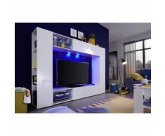 EEK A+, Wohnwand Boost (inkl. Beleuchtung) - Hochglanz Weiß / Weiß