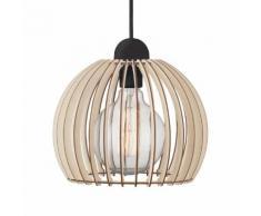 EEK A++, Pendelleuchte Chino - Holz massiv / Metall - 1-flammig - 25
