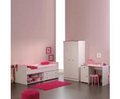 Kinderzimmer Smoozy (3tlg.) - Kleiderschrank, Stauraum-Bett & Schreibtisch - Drehbare Kanten (Rosa/Blau)