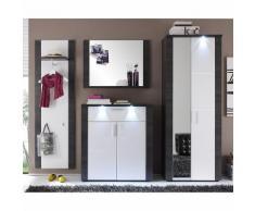 EEK A+, Garderobenset Bigio (4-teilig) - Esche Grau Dekor/Weiß - Inkl. Beleuchtung