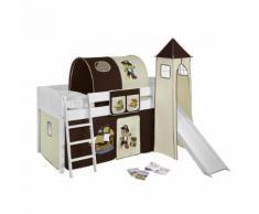 Spielbett IDA - Kiefer massiv - Weiß/Pirat-Braun - mit Turm und Rutsche