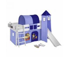 Spielbett IDA - Kiefer massiv - Weiß/Pirat-Blau - mit Turm und Rutsche