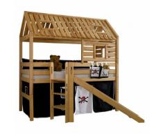 Spielbett Tom´s Hütte (mit Rutsche) - Buche massiv/Textil - Geölt/Pirat