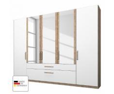 Kleiderschrank Lea mit Schubkästen- Eiche Sanremo hell/Alpinweiß - 250 cm (5-türig) - 3 Spiegeltüren