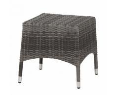 Gartenhocker Marina - Polyrattan / Aluminium - Grau