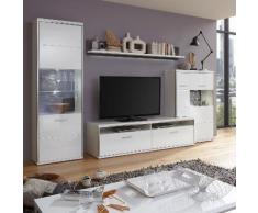 Wohnwand Arco III (4-teilig) - Hochglanz Weiß / Grau