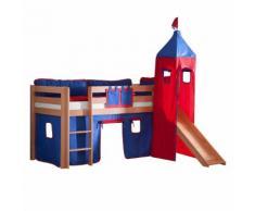 Spielbett Alex - mit Rutsche, Vorhang, Turm und Tasche - Buche Natur/Textil Blau-Rot