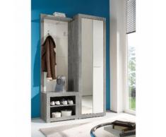 Garderobenset Rognan (3-teilig) - Weiß / Beton Dekor