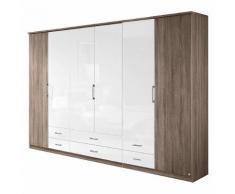 Falttürenschrank Arona - Eiche Havanna Dekor/Hochglanz Weiß - Schrankbreite: 181 cm - 4-türig