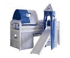 Spielbett Eliyas - mit Rutsche, Vorhang, Tunnel, Turm und Tasche - Buche Weiß/Textil Weiß-delfin