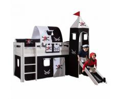 Spielbett Alex - Massivholz Buche - Weiß lackiert - mit Rutsche, Turm und Textilset Pirat