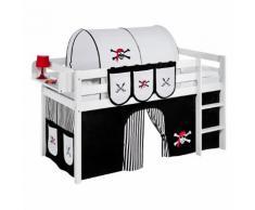 Spielbett JELLE Pirat Schwarz - Hochbett LILOKIDS - mit Vorhang - weiß