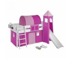 Spielbett IDA- Kiefer massiv - Weiß/Rosa-Pink - mit Turm und Rutsche