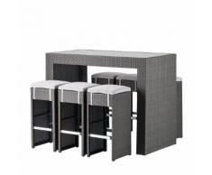 Gartenbar-Set Paradise Lounge (7-teilig) - Polyrattan Grau