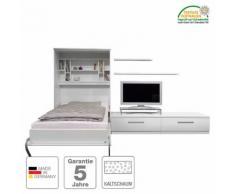 Schrankbett-Kombination Majano - 140 x 205 cm - Kaltschaummatratze - Weiß