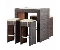 Gartenbar-Set Paradise Lounge (5-teilig) - Polyrattan Braun
