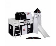 Spielbett IDA - Kiefer massiv - Weiß/Pirat-Schwarz - mit Turm und Rutsche