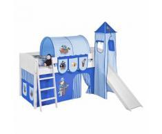 Spielbett IDA 4106 Pirat Blau - Teilbares Systemhochbett LILOKIDS - mit Turm und Rutsche inkl. Vorhang - weiß