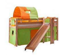 Spielbett Eliyas - Massivholz Buche - Natur lackiert - mit Rutsche und Textilset in grün/orange