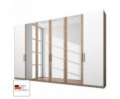 Kleiderschrank Lea - Eiche Sanremo hell Dekor/Alpinweiß - 300 cm (6-türig) - 2 Türen mit Absetzung - Eiche Sanremo Dekor /...