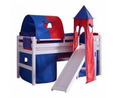 Spielbett Eliyas - mit Rutsche, Vorhang, Tunnel, Turm und Tasche - Buche weiß/Textil blau-rot