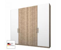 Kleiderschrank Lea - Eiche Sanremo hell Dekor/Alpinweiß - 200 cm (4-türig) - 2 Türen mit Absetzung - Eiche Sanremo Dekor /...