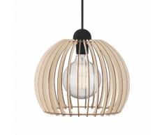 EEK A++, Pendelleuchte Chino - Holz massiv / Metall - 1-flammig - 30