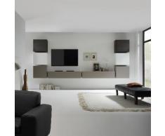 Wohnwand Cube LC I (8-teilig) - Hochglanz Weiß / Eiche Wenge Dekor / Beige