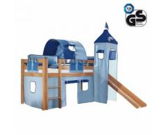 Spielbett Alex - Buche massiv klar lackiert - Inklusive Rutsche, Turm & Textilset in Blau mit Delfin