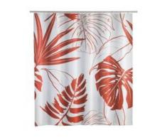 WENKO Brasil Duschvorhang, 200 x 180 cm, Spritzschutzvorhang absolut wasserdicht und pflegeleicht, Farbe: coral