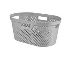 CURVER INVINITY Wäschekorb mit Punktmuster, Wäschebehälter aus Kunststoff, Farbe: light grey