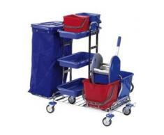 Floorstar RW 1 SOLID Reinigungswagen, verchromt, Stabiler Reinigungswagen für mittlere bis große Objekte, Fassungsvermögen: für 1 x 120 Liter Müllsäcke