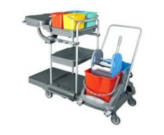 Floorstar 1 Multi BASIC Reinigungswagen, Reinigungswagen mit aufgesetztem Doppelfahrwagen, Maße (B x L x H): 66 x 133 x 110 cm