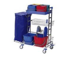 Floorstar RW 3 SOLID Reinigungswagen, verchromt, Reinigungswagen für unterschiedliche Anwendungsbereiche, Fassungsvermögen: für 120 Liter Müllsäcke