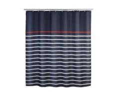 WENKO Marine Duschvorhang, 180 x 200 cm, Wasserabweisender Spritzschutzvorhang , Maße: 180 x 200 cm, Farbe: Blau