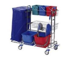 Floorstar RW 2 SOLID Reinigungswagen, verchromt, Reinigungswagen für unterschiedliche Anwendungsbereiche, Fassungsvermögen: für 1 x 120 Liter Müllsäcke
