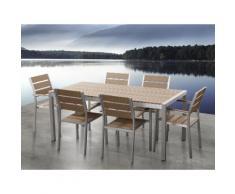 Aluminium Gartenmöbel Set braun - Tisch 180cm - 6 Stühle - Polywood - VERNIO