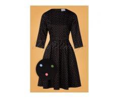 50s Sue Multi Spot Swing Dress in Black