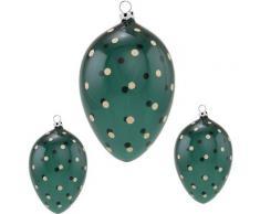 Thüringer Glasdesign Osterei »Punkte« (Set, 3 Stück), mundgeblasen, handdekoriert