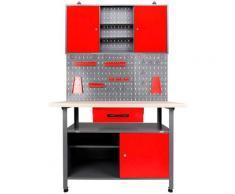 ONDIS24 Werkstatt-Set, (Set), inkl. Werkbank, Werkzeugschrank, Lochwand & 22-tlg. Hakenset