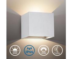 B.K.Licht LED Außen-Wandleuchte, LED Wandstrahler 7W Außenlampe 600lm 4000K Wandspot IP44 metall weiß