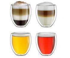 Creano Thermoglas, Borosilikatglas, bauchig, doppelwandig mit Thermoeigenschaft, 4-teilig