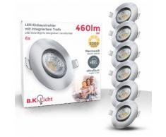 B.K.Licht LED Einbauleuchte, 6er Set schwenkbare Einbauleuchten, ultra flach (30mm)