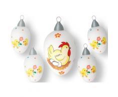 Krebs Glas Lauscha Osterei »Henne mit Eiern und Küken« (Set, 5 Stück)